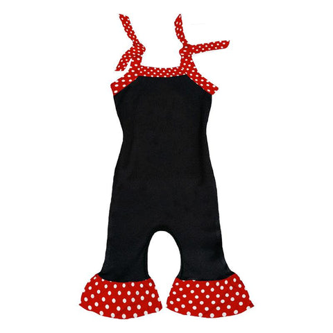 Ruffle Romper Black Red Polka Dot
