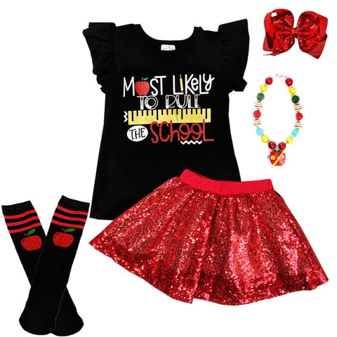 Rule The School Outfit Red Sequin Top And Skirt