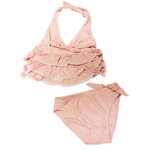 Salmon Ruffle Swimsuit Two Piece