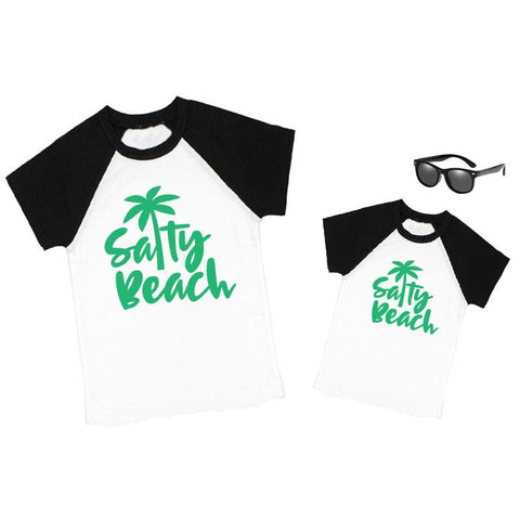 Salty Beach Palm Tree Shirt Black Raglan Daddy And Me