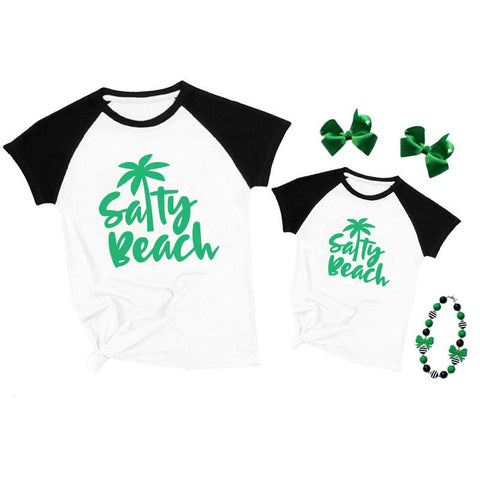 Salty Beach Palm Tree Shirt Black Raglan Mommy And Me