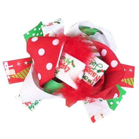 Santa Hair Bow Red Feather Polka Dot