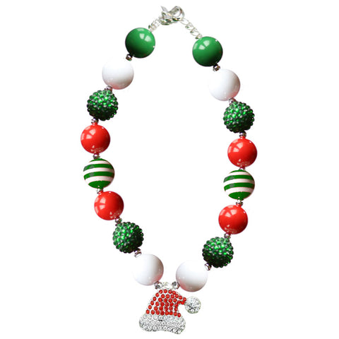 Santa Hat Necklace Gumball Red Green Stripe