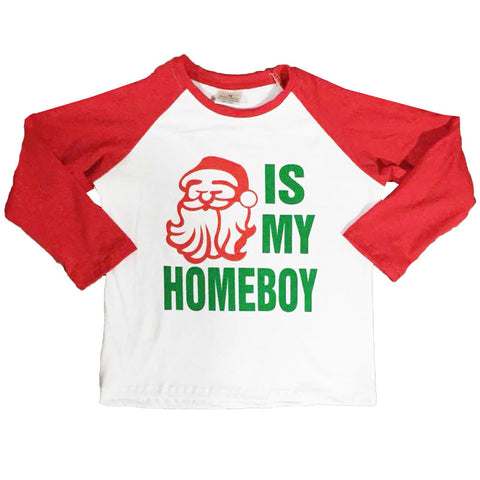 Santa Is My Homeboy Shirt Red Raglan