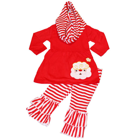 Santa Outfit Red Stripe Ruffle Scarf Top And Pants