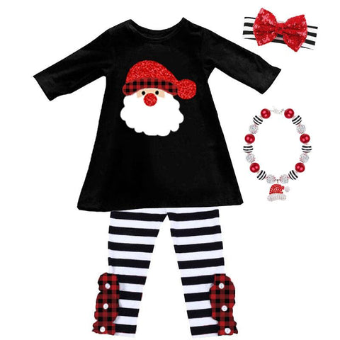 Santa Plaid Outfit Black White Stripe Top And Pants
