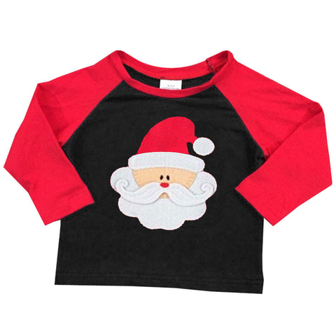 Santa Shirt Black Red Raglan