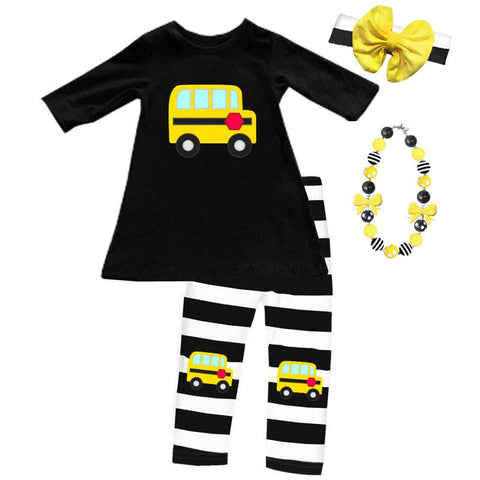 School Bus Outfit Black Stripe Top And Capri