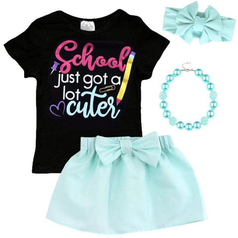 School Just Got Cuter Outfit Black Mint Top And Skirt