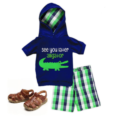 See You Later Alligator Plaid Hoodie And Shorts
