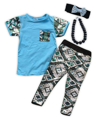 Sequin Aztec Blue Capri Set