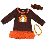 Sequin Turkey Dress Brown Orange Ruffle