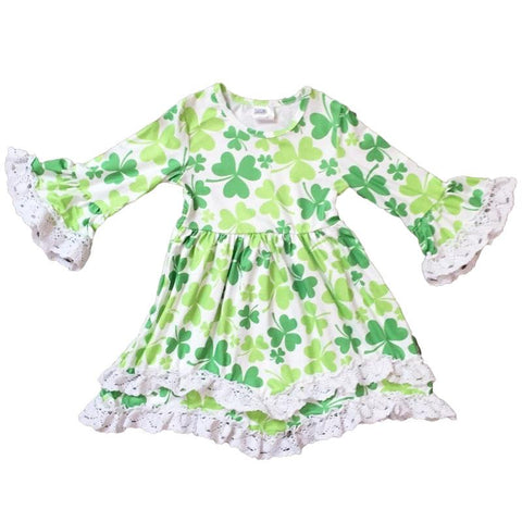 Shamrock Dress Green White Lace Ruffle