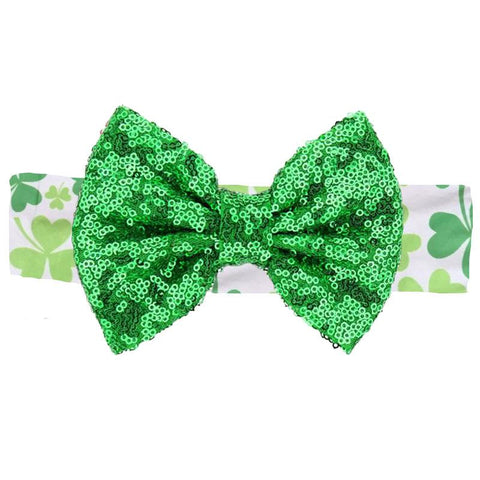 Shamrock Headband Green Sequin Bow