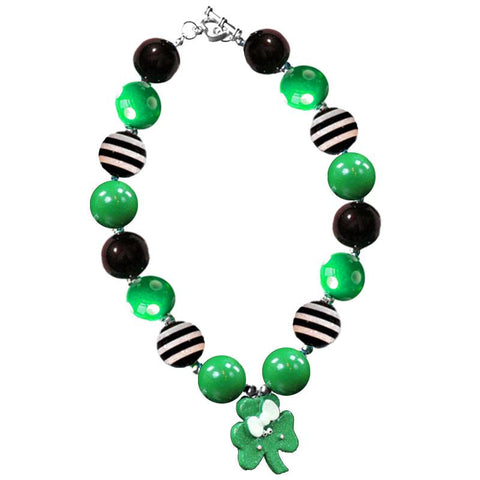 Shamrock Necklace Green Black Stripe Gumball