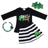 Shamrock Pinch Proof Outfit Black Stripe Top And Skirt