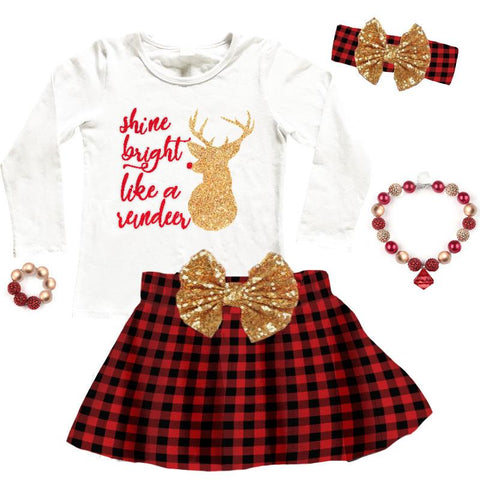 Shine Bright Reindeer Shirt Gold Sparkle
