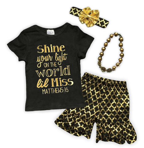 Shine Your Light Gold Moroccan Shorts Set
