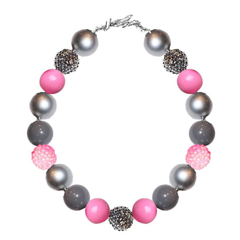 Silver Gray Pink Necklace Sparkle Gumball Chunky