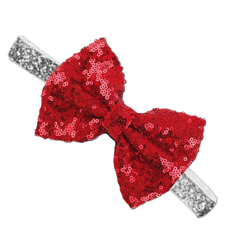 Silver Red Sequin Bow Headband
