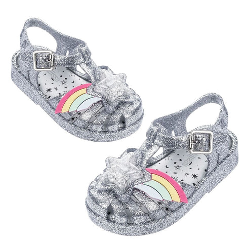 Silver Sparkle Rainbow Star Sandals
