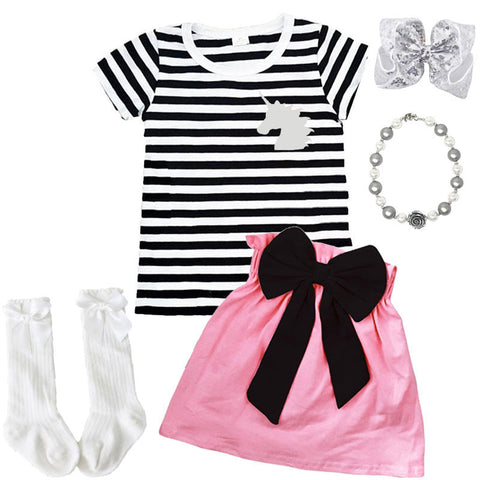 Silver Unicorn Outfit Black Stripe Pink Top And Skirt
