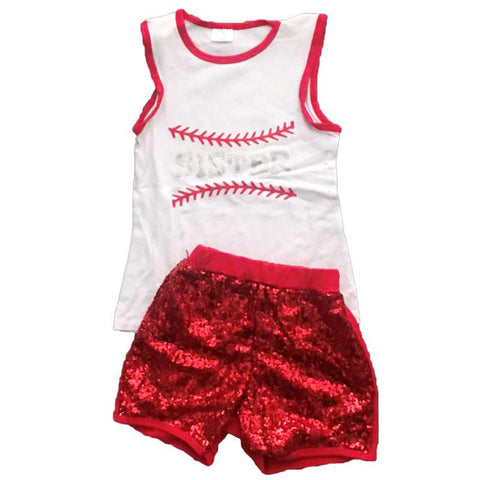 Sister Baseball Outfit Red Sequin Tank And Shorts