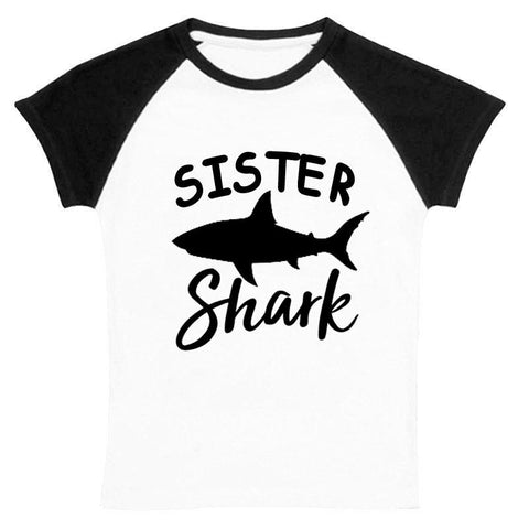 Sister Shark Shirt Black Raglan