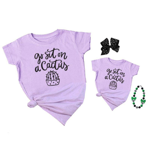 Sit On A Cactus Shirt Lavender Mommy And Me