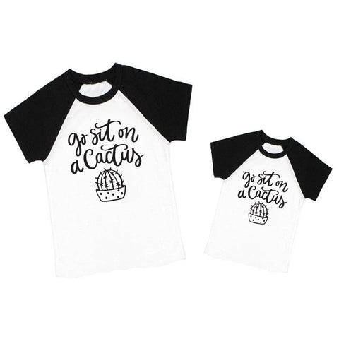 Sit On A Cactus Shirt Raglan Daddy And Me