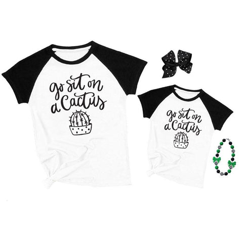 Sit On A Cactus Shirt Raglan Mommy And Me