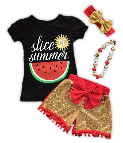 Slice Of Summer Red Gold Sequin Shorts Set