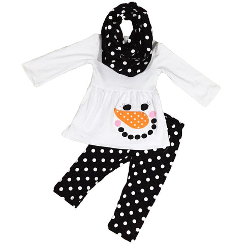 Snowman Face Outfit Black Polka Dot Scarf Top And Pants