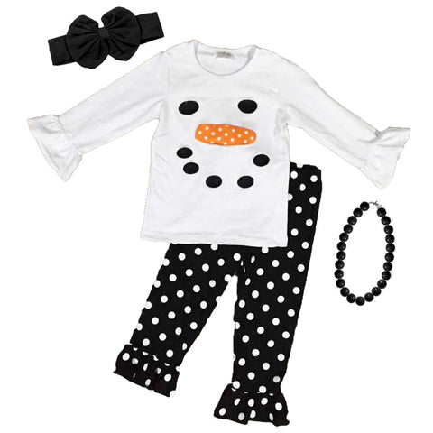 Snowman Outfit Black Polka Dot Top And Pants