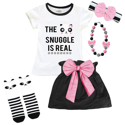 Snuggle Is Real Panda Top And Skirt