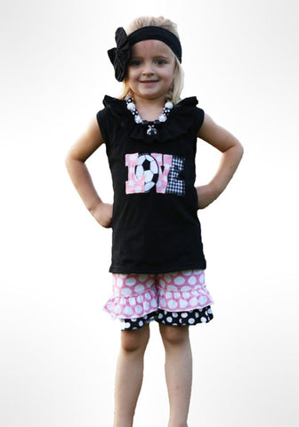 Soccer Love Pink Black Polka Shorts Set