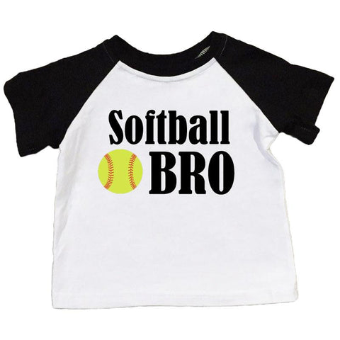 Softball Bro Shirt Black Raglan Boy