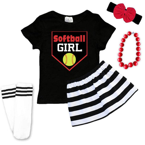 Softball Girl Outfit Black Stripe Top And Skirt