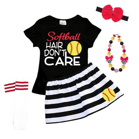 Softball Hair Dont Care Outfit Black Stripe Top And Skirt
