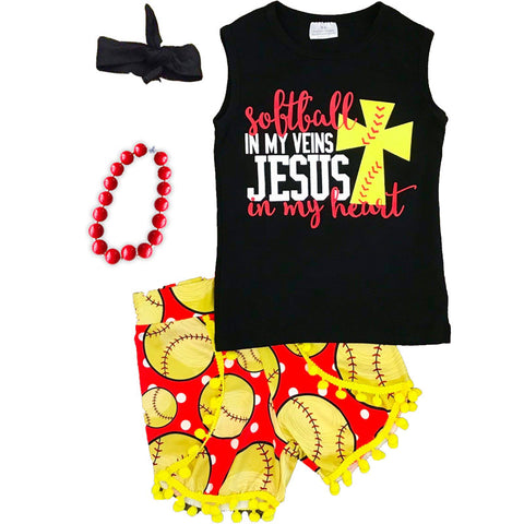 Softball In My Veins Jesus In My Heart Top And Shorts