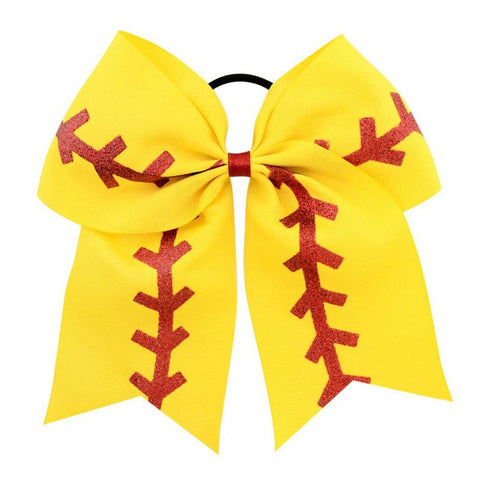Softball Laces Ponytail Holder Bow