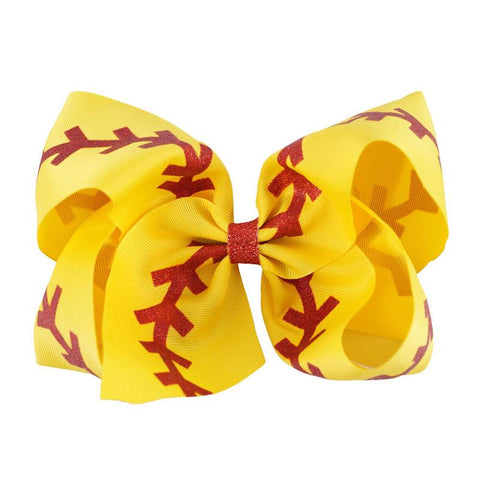 Softball Red Laces Hair Bow