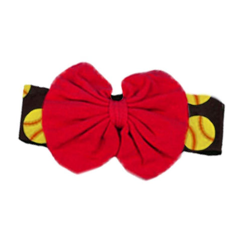 Softball Red Messy Headband Black