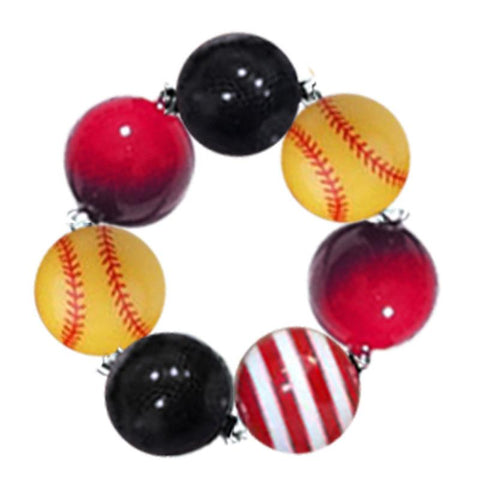 Softball Red Stripe Bracelet Gumball Chunky