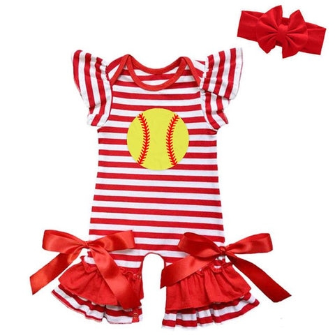 Softball Red Stripe Romper Satin Bows
