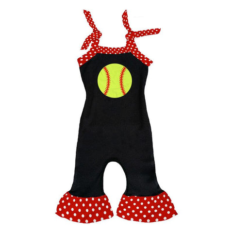Softball Romper Red Polka Dot Ruffle Black