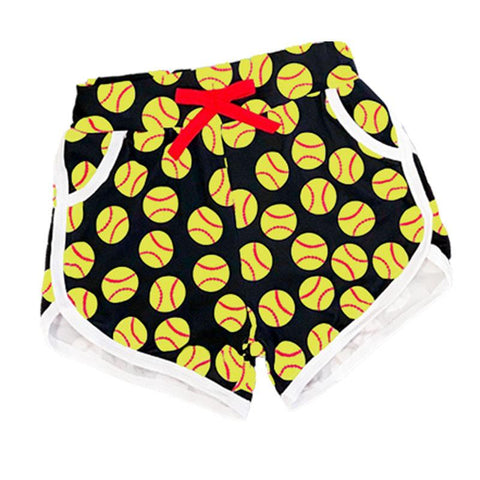 Softball Shorts Red Bow Black