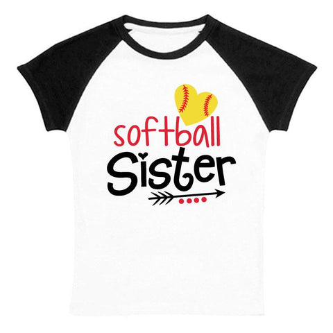 Softball Sister Heart Shirt Black Raglan