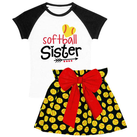 Softball Sister Outfit Heart Black Top And Skirt