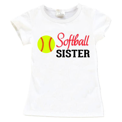 Softball Sister Shirt White